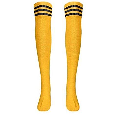 ZCSMg Fashion Warm Hohe gestreift über Knie Lang Gestreift Tube Soccer Fußball Socken (gelb)