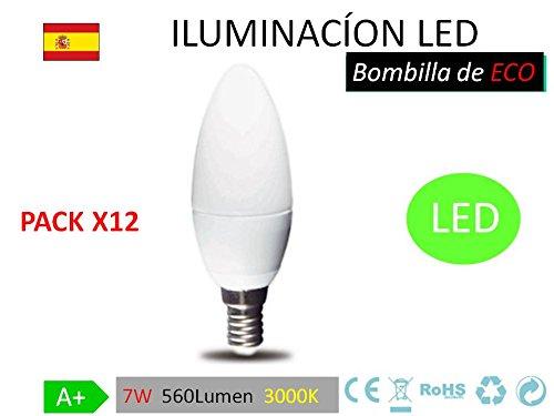 Pack 12 Bombillas LED c37, 7W,(equivalente a 70W), casquillo E14