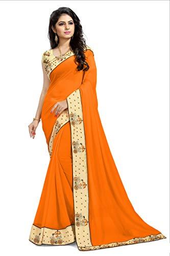 Shonaya Women`S Party Wear Georgette Printed Saree Sari (Mustard)