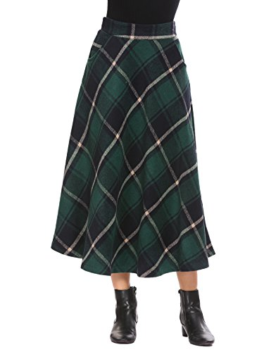 Shine Women's Wool Check Print Plaid High Waisted Aline (Elastic Waist Wool Skirt)