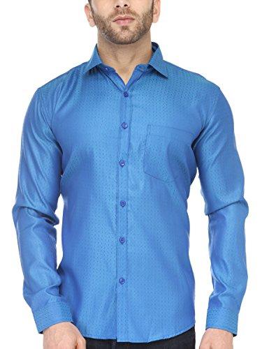 BEING FAB Men #39;s Polka Print Casual Lighty Blue Shirt