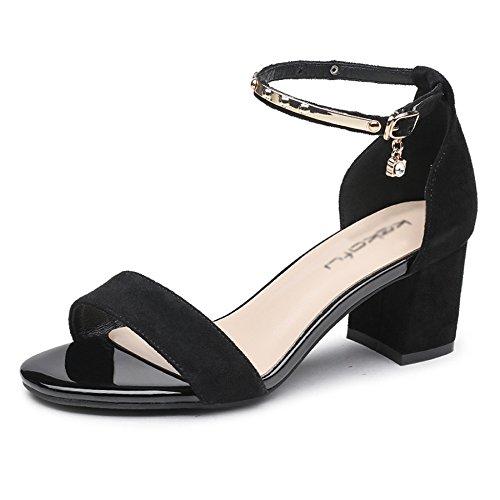 Sauvage épais Femmes Yra Talon Sandales Boucle 35 Chaussures Hauts 40 Black Chic Talons Summer Femmes WAtYAqnxr
