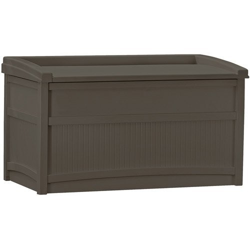 50-Gallon Deck Box with Seat, Java w/ Handles & Wheels, Portable Storage Model: