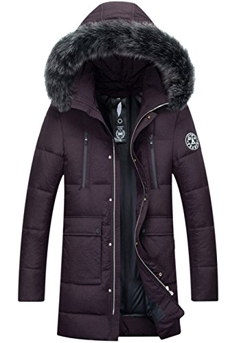 Jacket With Coats Wintercoat Hooded Winter Purple Fur Removable Down Coat Men's Parka Long Jacket Outerwear Warm qUqz1wg