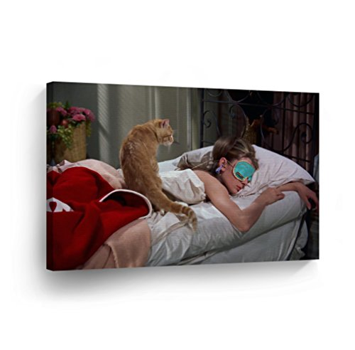 Audrey Hepburn Breakfast at Tiffany`s Sleeping Mask Canvas Print Decorative Art Modern Wall Décor Artwork Wrapped Wood Stretcher Bars - Ready to Hang - %100 Handmade in the -