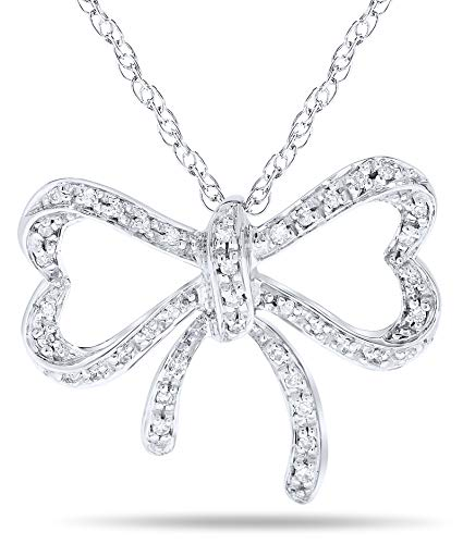1/6 Carat Diamond Bow Knot Pendant Necklace in 14k White -