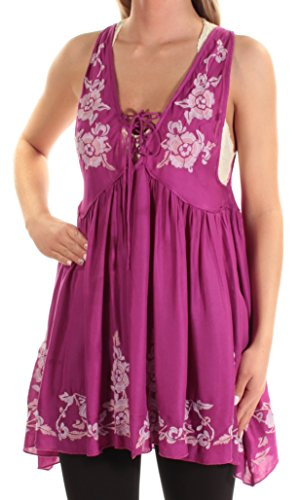 Free People Baby Doll (Free People 88 Womens New 1328 Purple Embroidered Baby Doll Dress XS B+B)