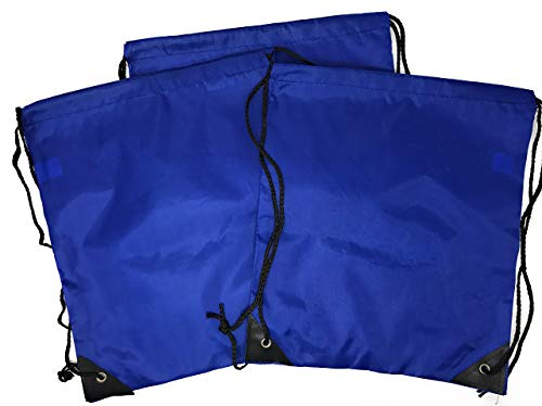 Bulk 20 Pack of Drawstring Backpacks - Sports Bag Cinch Sack (Blue) ()