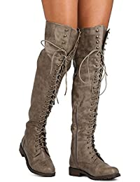 Amazon.com: Lace-up - Over-the-Knee / Boots: Clothing, Shoes & Jewelry
