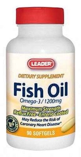 UPC 096295120622, Leader Fish Oil Omega-3 1200mg Reflux Free Enteric Coated Softgels 90 Ct
