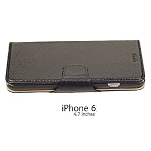 OnlineBestDigital - 100% Handmade Genuine Leather Flip Stand Case for Apple iPhone 6 (4.7 inch)Smartphone - Black