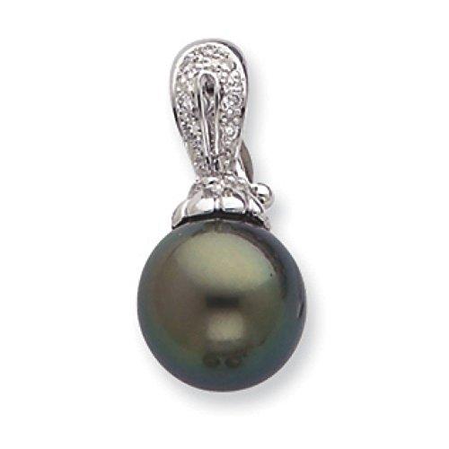 10 mm d'Eau 14 carats Perle de Tahiti d'eau douce et diamant-JewelryWeb bruts