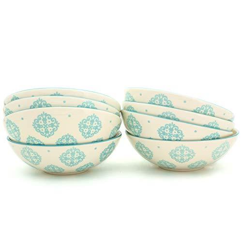 Euro Ceramica ALF-1231T Alfama Dining/Pasta Bowls, Set of 8, Turquoise by Euro Ceramica Inc.