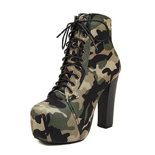 Women's Camo Military Boots Lace Stiletto High Heels Pumps Ladies Classic Cross Bandage Boots Green