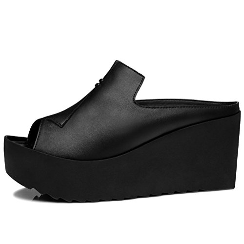 Modische Bequeme Sommer Damen Kühle Sandalen Dicke Sohle Keilabsatz Einfache Slip-on Buchseite Slippers Schwarz Größe 35 EU