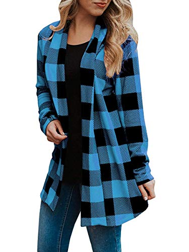 Womens Buffalo Plaid Cardigans Long Sleeve Elbow Patch Draped Open Front Cardigan Shirt (XXX-Large, Lake Blue)