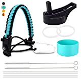 IngJa Water Bottle Accessories Set -Tactic Survival Paracord Handle Suitable for Hydro Flask Wide Mouth Series, Straw Lid, Silicone Protective Sleeve, Multi-Purpose Tactic Paracord Strap