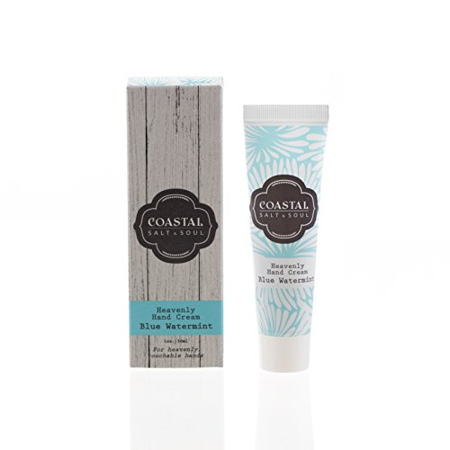Coastal Salt & Soul, Heavenly Hand Cream, For Cracked and Dry Hands, with Avocado and Jojoba Oils & Pure Shea Butter, 1.0 oz., Blue Water Mint.