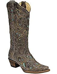 Corral Womens A1099 Brown/Turquoise 100% Leather Boot