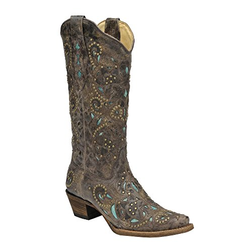 Corral Womens A1099 Brown/Turquoise 100% Leather Boot ()