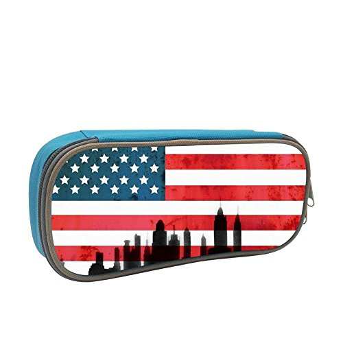 New York City Skyline American Flag 3D Printed Large Capacity Student Pencil Case Portable Pouch Pen Case Multifunction Canvas Pencil Case with Double Zipper Storage Organizer for Kids Tteens