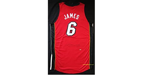 fec172e4e567 LeBron James Autographed Miami Heat Jersey - Red at Amazon s Sports  Collectibles Store