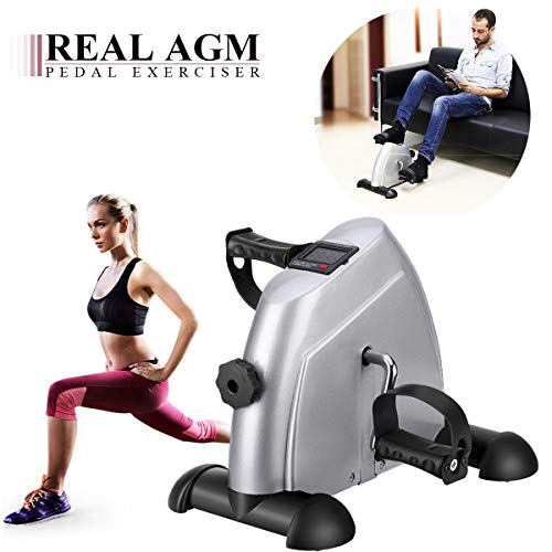 AGM Mini Exercise Bike, Under Desk Bike Arm & Leg Pedal Exerciser with LCD Screen Display(Silver)