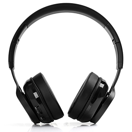 Bluetooth Headphones Wireless Headset Over Ear - Foldable Hi-Fi Stereo Headset with Built-in Mic, Comfortable Earpads, 15Hours Playtime, for Cellphones/ TV/ Computer/ Travel/ Work, Black (Compact Wireless Headphones)