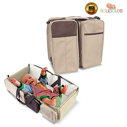 Scuddles 3 In 1 Travel Infant Bed Baby Diaper Bag & Baby Changing Pad Portable Systems | Infant Sleeping Bag | Travel Bed, Easy Carry Design Portable For Girls & Boys Travel Accessory (SC-FDB-01) ()