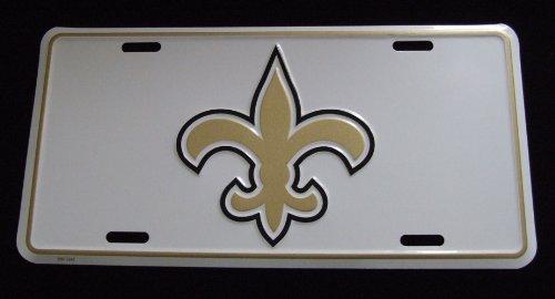 Fleur De Lis Tag (White Fleur de Lis Car Tag Metal License Plate New Orleans)