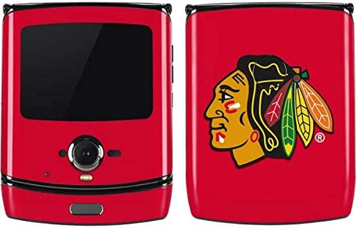 Amazon Com Skinit Decal Phone Skin For Motorola Razr Officially Licensed Nhl Chicago Blackhawks Solid Background Design Electronics