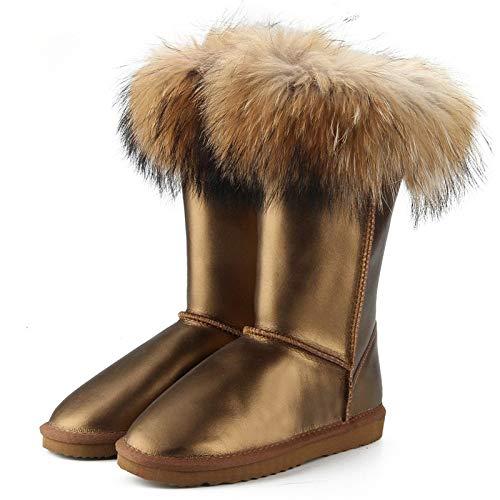 Fumak Fashion Boots Women High Boots Women Snow Boots Waterproof Winter Shoes Natural Fox Fur Leather