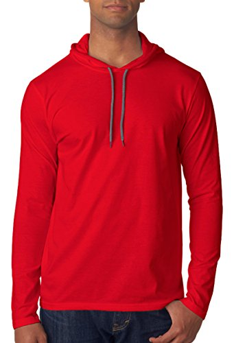 Red Medium Weight (Anvil Lightweight Long Sleeve Hooded T-Shirt. 987 Medium Red / Dark Grey)