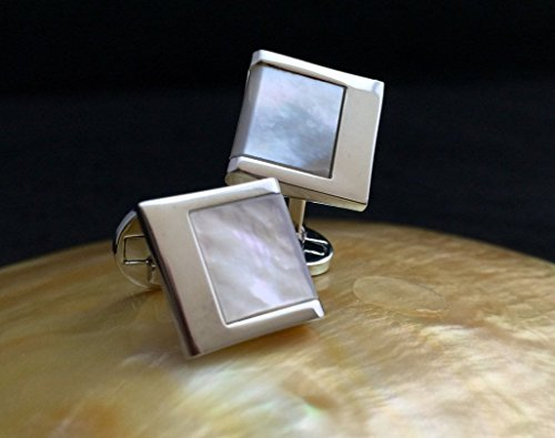 Genuine Mother of Pearl Cufflinks, Wedding Cufflinks with Mother of Pearl inlay, Mens Cufflinks, Unique Cufflinks Birthday Wedding Anniversary Gift for (Genuine Cufflinks)