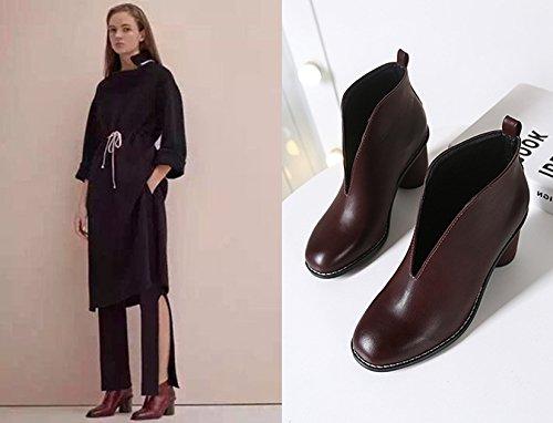 Hrcxue Cabeza Redonda Marrón Botines Brillante Corte Con La Mujer De Zapatos On4rqOZ