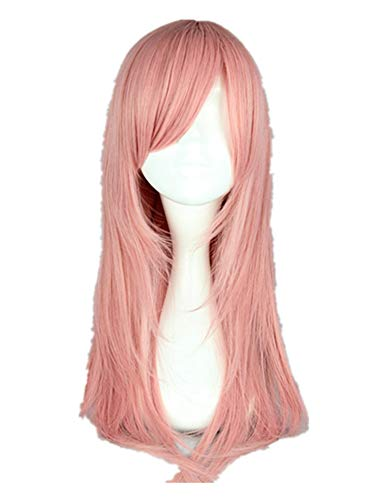 Pink Wig Synthetic Medium Straight Inclined Bangs Hair Heat Resistant Peruca Halloween Peruk Pelucas Cos-play Hairpiece,Pink,18inches]()