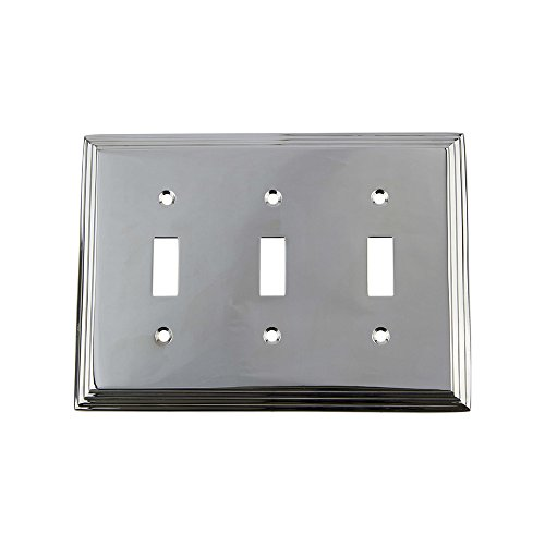 Nostalgic Warehouse 719880 Deco Switch Plate with Triple Toggle, Bright Chrome