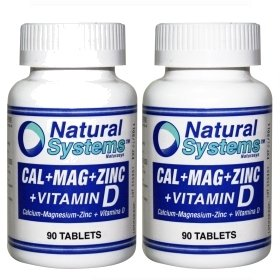 Natural Systems 2 PACK Calcium Magnesium Zinc + Vitamin D 2x90 Tablets Healthy Body