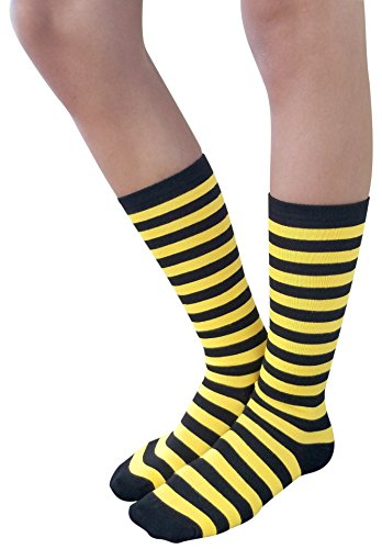 AM Landen Cotton Mid Calf/Knee-Highs Striped Socks/Casual Socks(Black/Yellow)