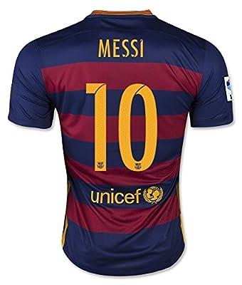 Barcelona Home Suarez #9 / Messi #10 / Neymar #11 Football Soccer Kids Jersey with Free Shorts 2015-16