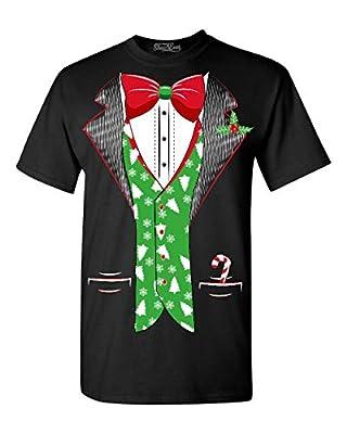 Shop4Ever Tuxedo Christmas Costume T-shirt Xmas Shirts