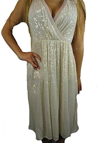French Connection Damen Kleid, Creme Gr. 38 Damenmode Pailletten Kleid Neu!#W34a