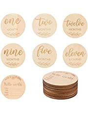 NUOBESTY Wooden Baby Monthly Milestone Cards Double Sided Baby Announcement Cards Pregnancy Journey Milestone Markers for Photo Prop Milestone