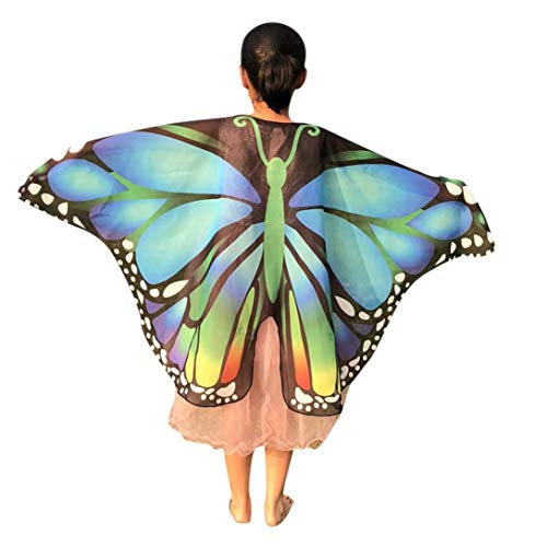 Yezijin Halloween Costumes, Children Kids Butterfly Print Wings Shawl Scarves Poncho Costume Accessory (Sky Blue) ()