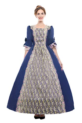 Vintage Era Hat (ROLECOS Womens Royal Vintage Medieval Dresses Lady Satin Gothic Masquerade Dress Navy Blue)