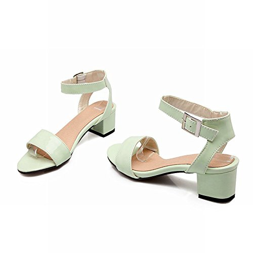 Carol Shoes Women's Concise Sweet Mid Heel Buckle Open Toe Sandals Green 0poNlWj13j