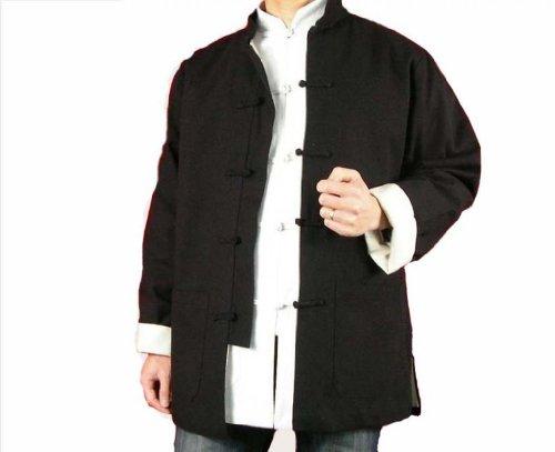 Lin Fin Col Mao Veste Noire Tai Chi Arts Martiaux Blouson Homme Tailleur #111