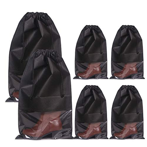DIOMMELL Set of 6 Tall Boot Bags for Travel Non-Woven with Rope for Men and Women Large Shoe Protector Cover Storage Organizers Pouch