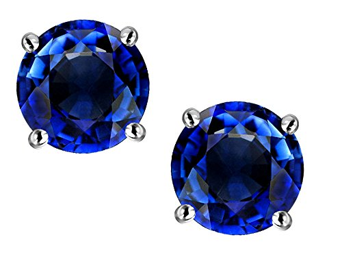 Star K Round 6mm Created Sapphire Classic Screw Back Stud Earrings 14 kt White Gold