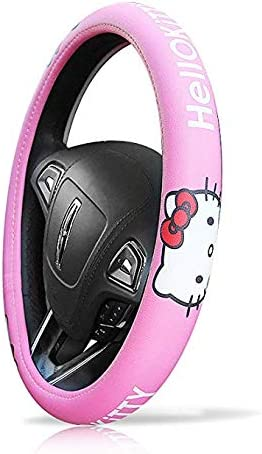 eing Car Steering Wheel Cover Genuine Leather Universal 15 inch Auto Hello Kitty Interior Accessories ,Pink Six Kitty Heads Type
